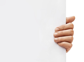 Copy space for your text. Close up of man's hand holding empty board on white background. High resolution