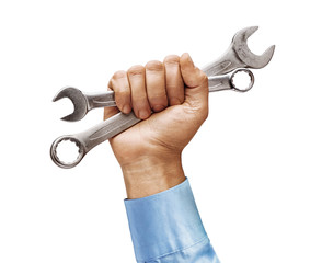 Man's hand in a shirt holds a spanners isolated on white background. Close up. High resolution product