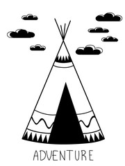 Adwnture wigwam in modern kids style, Black and white style