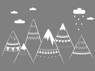 Mountain kids, hand drawn vector illustration