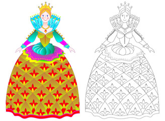 Colorful and black and white pattern for coloring. Illustration of beautiful medieval princess in elegant dress. Worksheet for children and adults. Vector image.
