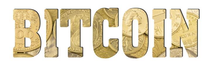 Bitcoin. Golden coins background