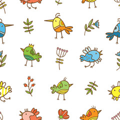 Seamless pattern with cute cartoon colorful birds on white  background. Flowers and plants. Spring time. Vector contour image. Doodle style.