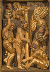 Wall Mural - ZARAGOZA, SPAIN - MARCH 3, 2018: The polychome carved renaissance relief of Flagelation of Jeus in church  Iglesia de San Miguel de los Navarros by Damian Forment (1519).