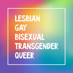 LGBTQ sign on a blurred rainbow mesh background. Conceptual design. Editable vector illustration. Lesbian, Gay, Bisexual, Transgender, Queer