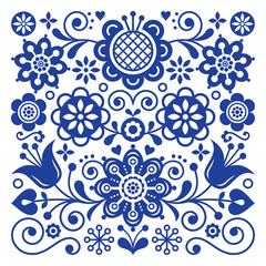 Folk art retro vector pattern, Scandinavian floral ornament design, Nordic style ethnic decoration