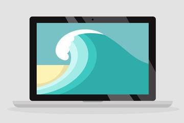 Laptop wallpaper. Ocean waves, sand beach. Summer. Flat editable vector illustration, clip art
