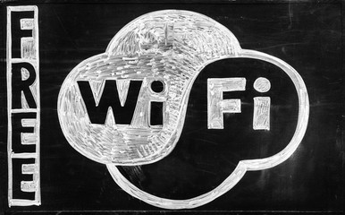 Free WiFi - drawing on blackboard