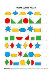 Shapes and colors themed educational logic game training sequential pattern recognition skills: What comes next in the sequence? Answer included.