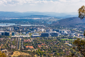 View of Canberra city and lake Burley Griffin from Mt. Ainslie lookout