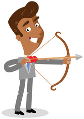Vector illustration of an asian cartoon businessman with bow and arrow isolated on white background