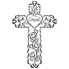 A patterned cross with a Bible, birds, flowers and hearts