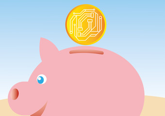 Vector illustration of piggy bank saving cryptocurrency benefits