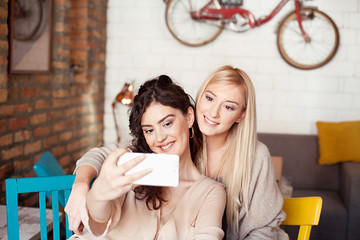 Two Female Friends In Cafe Taking Selfie Using Smart Phone. Smiling, laughing and enjoying their time