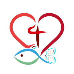 Heart, fish, bible and cross, creative Christian symbol
