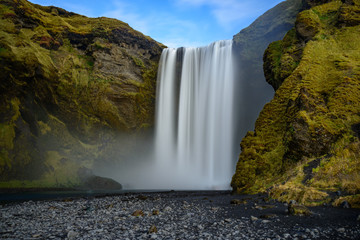 Recess Fitting Waterfalls the Skogafoss waterfall in Iceland.