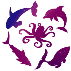 vector silhouettes of sea animals, starry sky,octopus, shark, killer whale, dolphin, whale