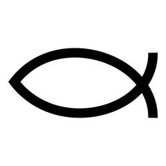 Symbol fish icon black color illustration flat style simple image