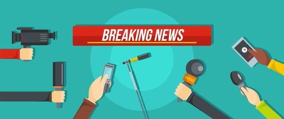 Breaking news banner. Flat illustration of breaking news vector banner for web