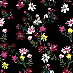 Floral seamless pattern with flowers, vector motifs for fabric print and embroidery.