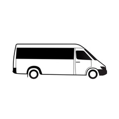 Bus Black White Icon Grapfic Vector Illustration