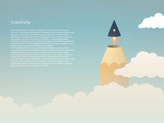 Creativity vector concept with pencil tip flying off as a rocket above clouds into the sky. Symbol of brainstorming, imagination, innovation, startup, new ideas and solutions.