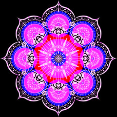 Colorful Flower Mandala. Vintage decorative elements. Oriental pattern, vector illustration. Islam, Arabic, Indian, moroccan, spain, turkish, pakistan, chinese, mystic, ottoman motifs. Luxury decor