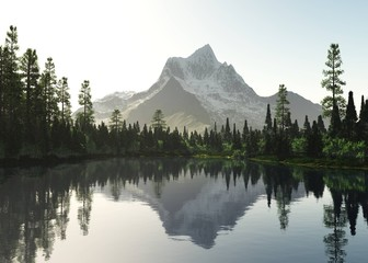 forest lake on a background of a snowy mountain 3D rendering