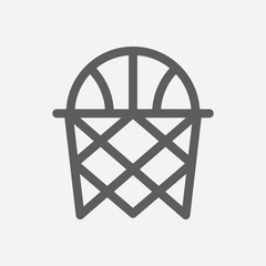 Basketball icon line symbol. Isolated vector illustration of basket sign concept for your web site mobile app logo UI design.