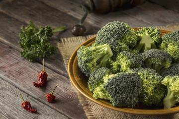Fresh broccoli in a plate