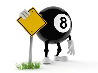 Eight ball character with blank road sign