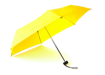 single opened yellow umbrella isolated on white background