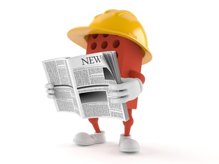 Brick character reading newspaper