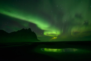 northern lights at Stokksnes in Iceland