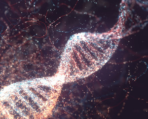 DNA Molecular Structure. 3D illustration. Colorful DNA molecule. Concept image of a structure of the genetic code.