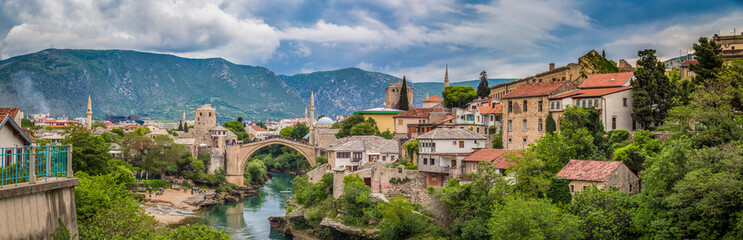 Old town of Mostar with famous Old Bridge (Stari Most), Bosnia and Herzegovina Wall mural