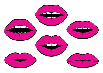Set of pink woman's lips with different emotions. Vector illustration