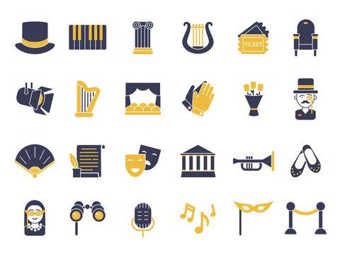 Monochrome icon set of theatre theme