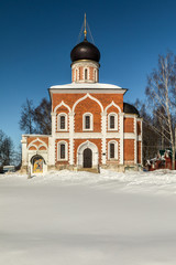 The Mozhaisk Kremlin. Church of Peter and Paul in Mozhaisk in winter. Cross-domed church. Orthodox temple of the XIV century. Russia, Moscow region, Mozhaisk.