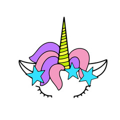 Unicorn cute vector illustration. Card and shirt design.