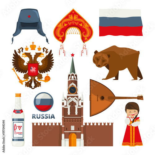 Set Of Different Traditional National Symbols Of Russia Moscow