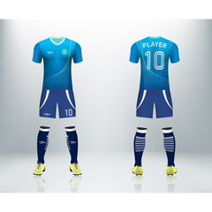 3D realistic mock up of front and back of soccer jersey shirt. Concept for soccer team uniform or football apparel mockup. Blue soccer kit t-shirt template design in vector illustration.