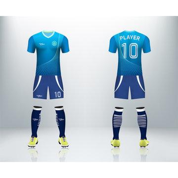 3D realistic mock up of front and back of soccer jersey shirt. Concept for soccer team uniform or football apparel mockup. Blue soccer kit t-shirt template design in vector illustration.