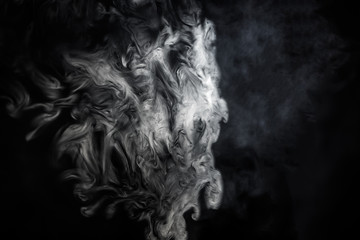 White smoke on a black background, for design