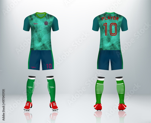 3D realistic mock up of front and back of soccer jersey shirt ...