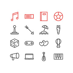 Vector illustration of 16 joy icons line style. Editable set of image, pen, heart and other icon elements.