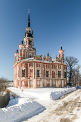 The Mozhaisk Kremlin. Novo-Nikolsky Cathedral in winter. Russian Orthodox Church. High building in pseudo-Gothic style. Russia, Moscow region, Mozhaisk.