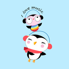 Vector cartoon cheerful penguin and owl