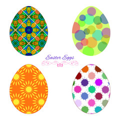 Vector Set Of Colorful Easter Eggs With Decorative Patterns