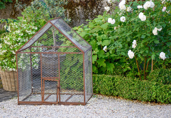 Old metal birdcage in a garden with gravel, white roses and jasmine
